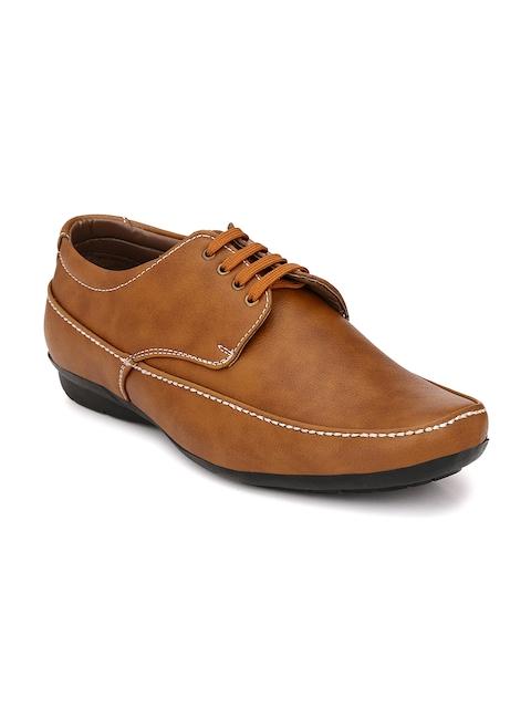 John Karsun Men Tan Brown Semi-Formal Derby Shoes