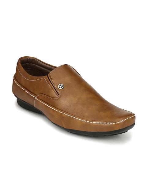John Karsun Men Tan Brown Formal Slip-on Shoes