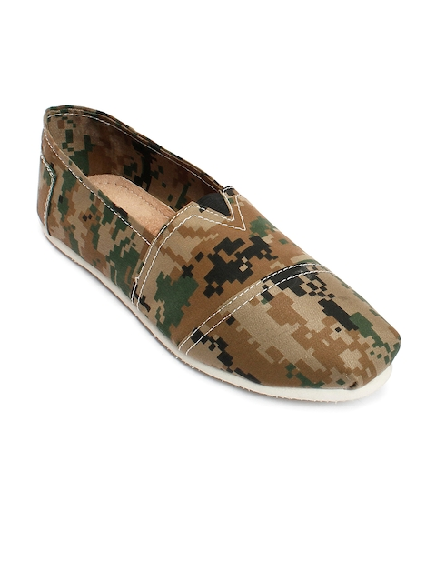 bacca bucci Men Olive Brown Printed Loafers