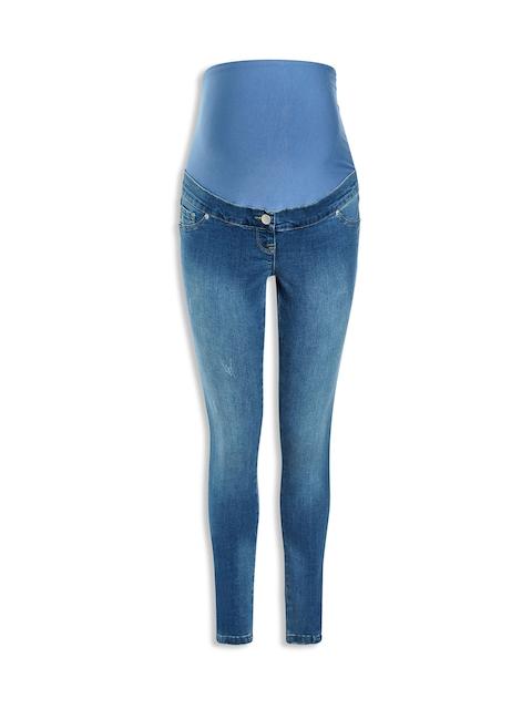 next Women Blue Regular Fit Mid-Rise Low Distress Maternity Jeans