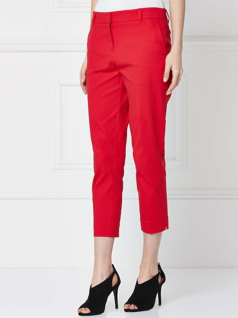 next Women Red Regular Fit Solid Trousers