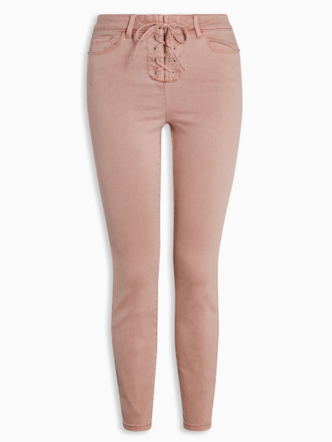 next Women Peach-Coloured Regular Fit Solid Trousers