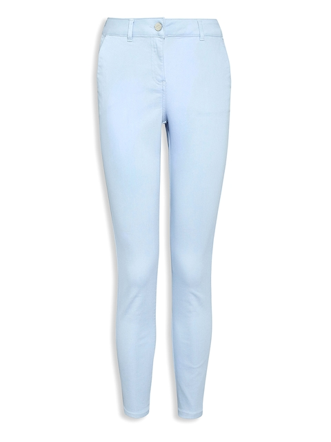 next Women Blue Skinny Fit Solid Cropped Trousers