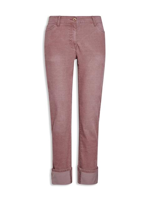 next Women Pink Regular Fit Self Design Regular Trousers