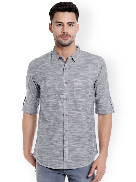 SPYKAR Men Black & Grey Slim Fit Self-Design Casual Shirt