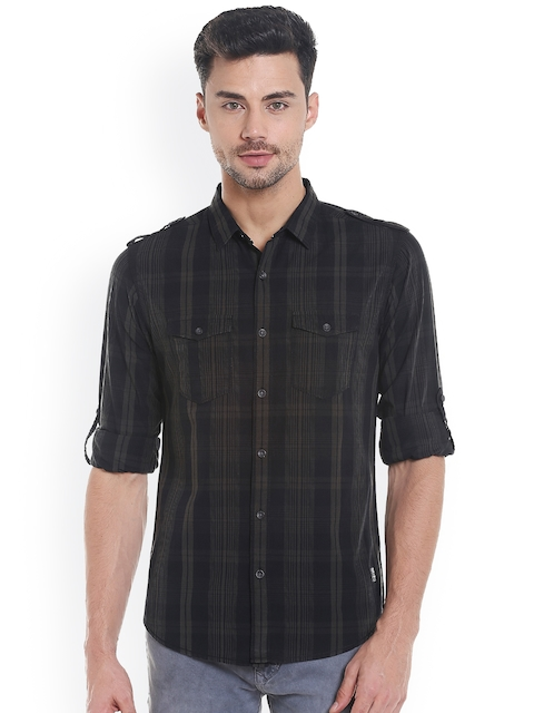 SPYKAR Men Black Slim Fit Checked Casual Shirt