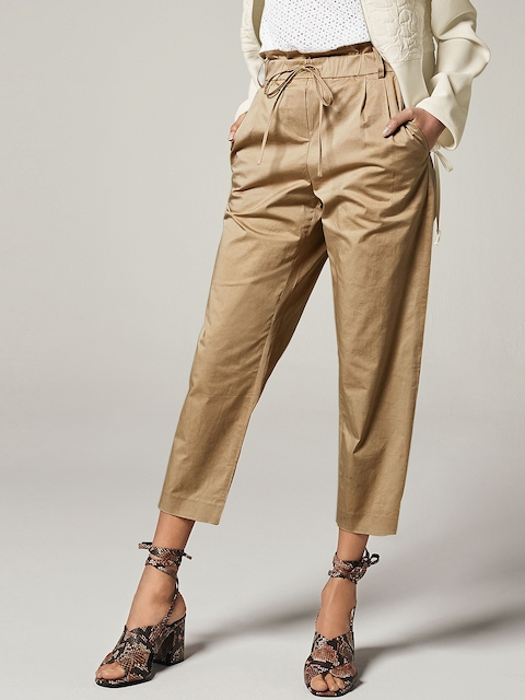 next Women Khaki Solid Cropped Casual Trousers