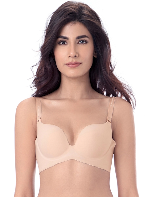 PrettySecrets Nude-Coloured Solid Non-Wired Lightly Padded Plunge Bra B0005