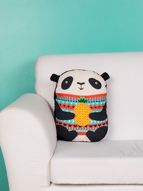 "Chumbak Multicoloured Polyester 15.7"" x 11.8"" Panda-Shaped Printed Cushion"