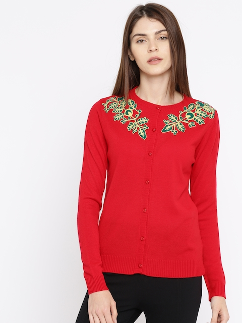 Anouk Women Red Cardigan