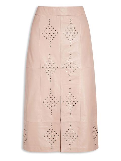 next Women Dusty Pink Studded Midi Leather Pencil Skirt
