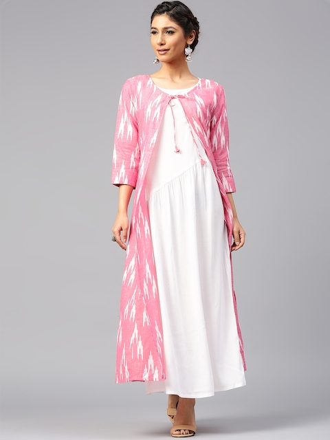 AKS Women Pink & White Ikat Self-Design Longline Ethnic Jacket