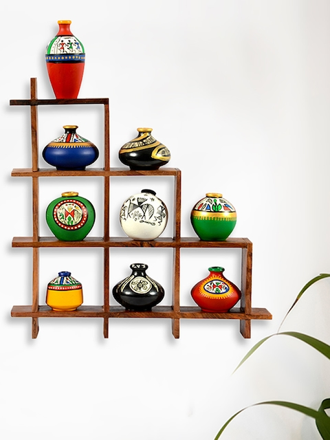 ExclusiveLane Set Of 9 Multicoloured Handpainted Pot Showpieces With Wooden Frame