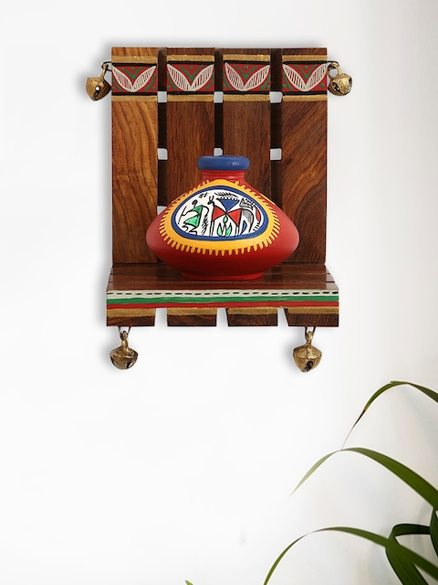 ExclusiveLane Brown & Red Handpainted Pot Showpiece with Wooden Wall Shelf