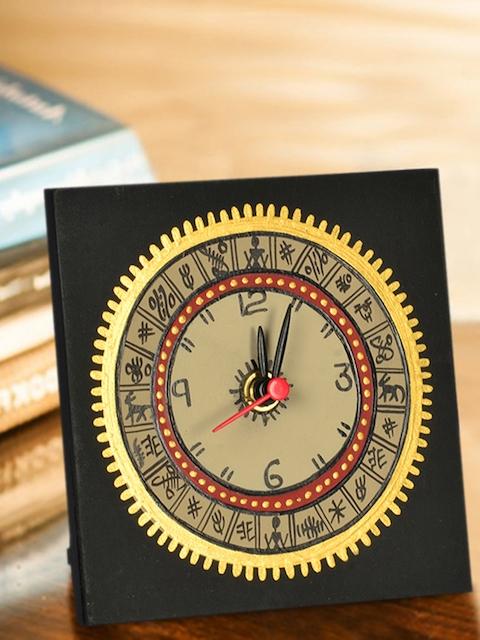 ExclusiveLane Black & Beige Warli 12 cm X 12 cm Handpainted Table Clock
