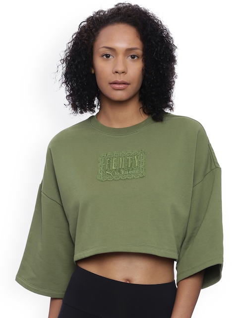 Puma Women Olive Green Solid Round Neck CROPPED CREW T-shirt