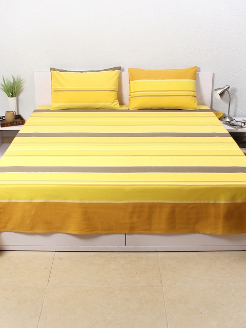 House This Yellow Striped Cotton Double Bed Cover with 2 Pillow Covers