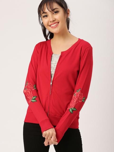 DressBerry Women Red Solid Sweatshirt