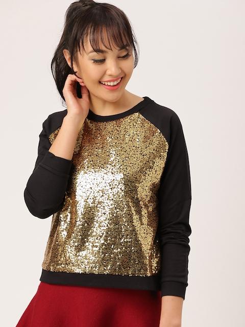 DressBerry Women Black Self-Design Sweatshirt