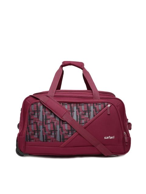 Safari Unisex Maroon Printed TROJAN Trolley Duffel Bag