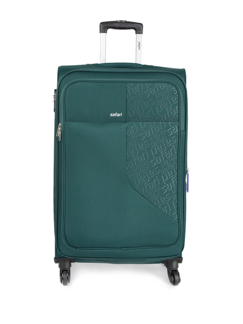 Safari Unisex Teal Green Badge Large Trolley Bag