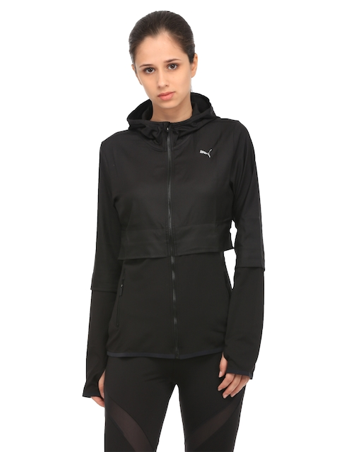 Puma Women Black PWRSHAPE Solid Hooded Sporty Jacket