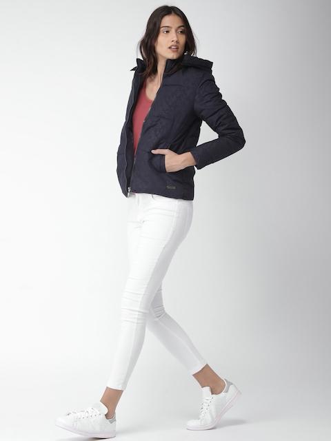 Mast & Harbour Women Navy Printed Puffer Jacket