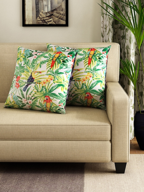 HOUZZCODE Green & Off-White Set of 2 Tropical Print 16 x 16 Square Cushion Covers