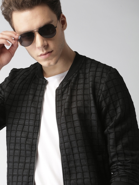 Mast & Harbour Men Black Checked Sweatshirt