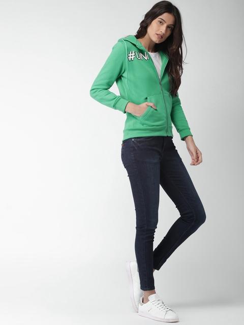 Mast & Harbour Women Green Solid Hooded Sweatshirt
