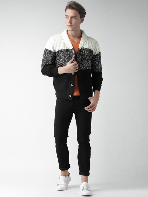 Mast & Harbour Men Black & White Colourblocked Cardigan