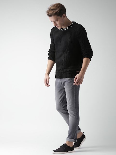 Mast & Harbour Men Black Self Design Pullover