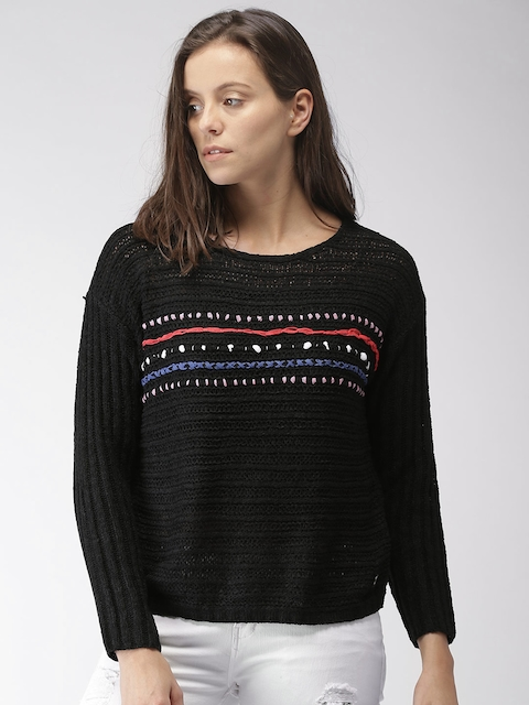 Mast & Harbour Women Black Self-Design Pullover
