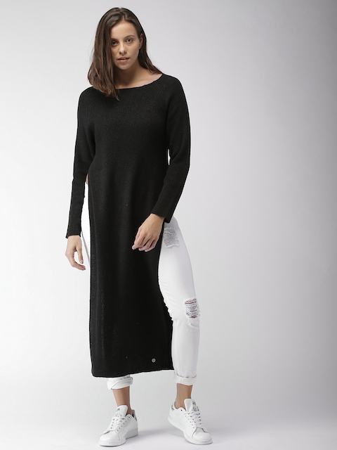 Mast & Harbour Women Black Solid Longline Sweater