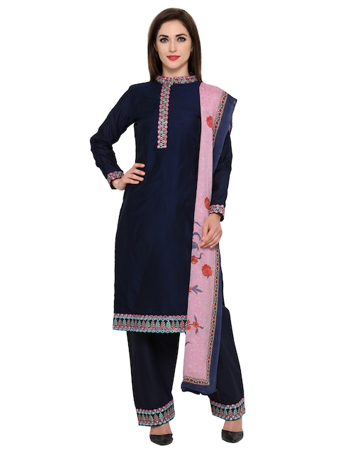 Bhelpuri Navy Embroidered Unstitched Dress Material
