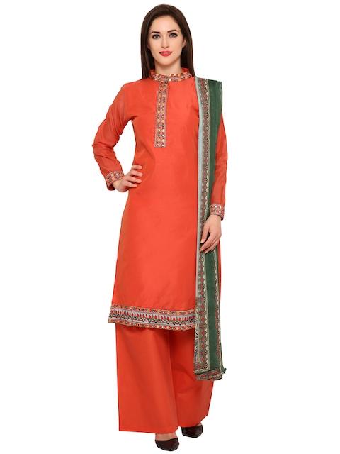 Bhelpuri Orange Embroidered Unstitched Dress Material
