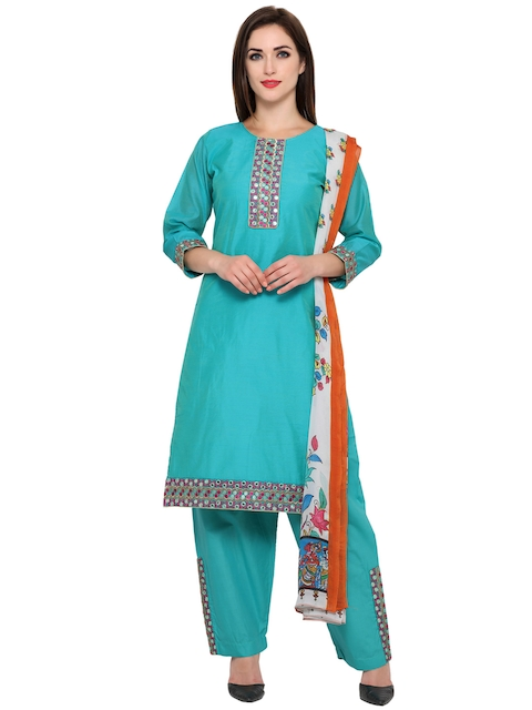 Bhelpuri Turquoise Blue Embroidered Unstitched Dress Material