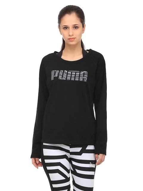 Puma Women Black Elevated Crew Printed Sweatshirt