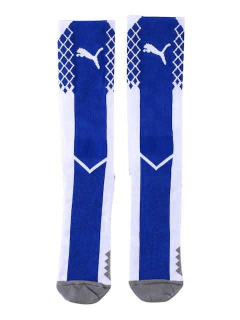 Puma Men Blue & White IT evoTRG Patterned Knee-Length Socks
