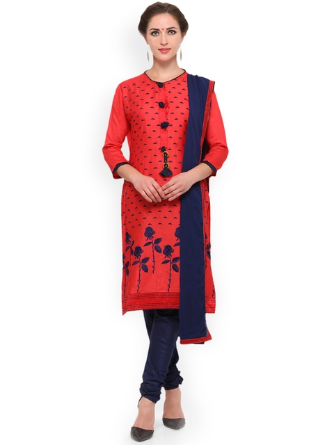 KIMISHA Red & Navy Cotton Blend Unstitched Dress Material