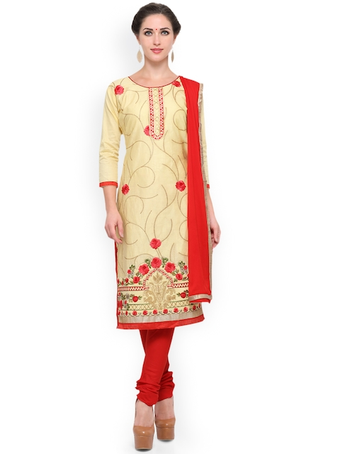 KIMISHA Beige & Red Cotton Blend Unstitched Dress Material