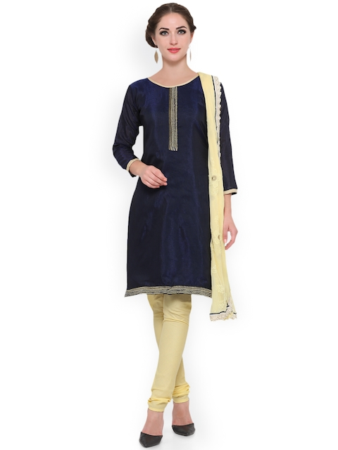 KIMISHA Navy & Yellow Cotton Blend Unstitched Dress Material