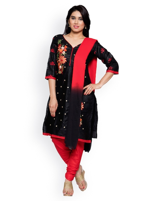 OOMPH Black & Red Pure Cotton Unstitched Dress Material