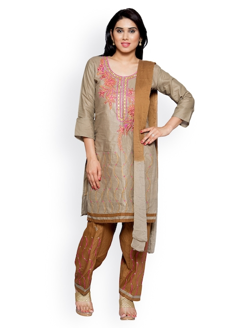 OOMPH Brown Pure Cotton Unstitched Dress Material