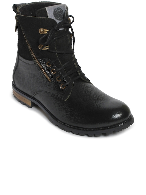 bacca bucci Men Black Solid Leather High-Top Flat Boots
