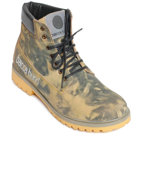 bacca bucci Men Olive Green Printed Leather High-Top Flat Boots