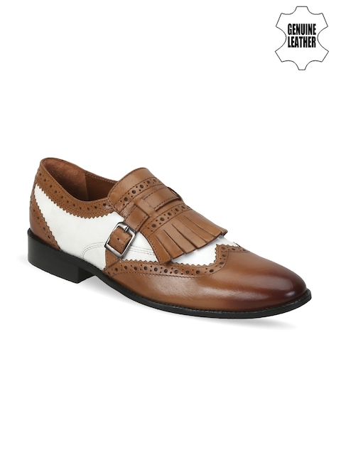 BRUNE Men Tan Brown & White Genuine Leather Semiformal Shoes