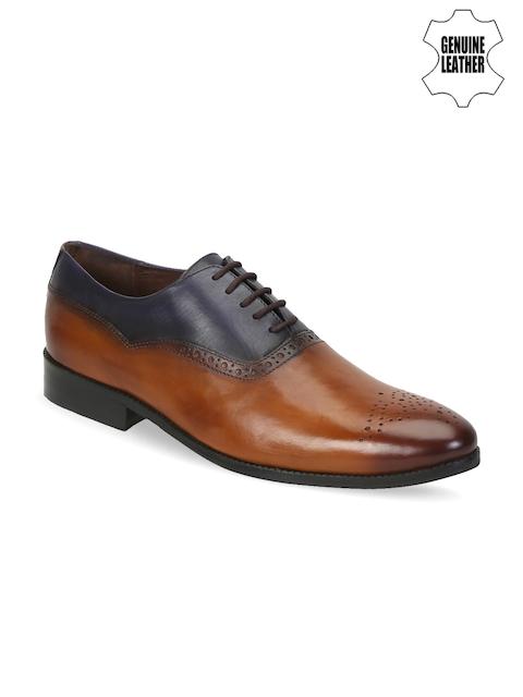 BRUNE Men Tan Brown & Blue Genuine Leather Oxfords