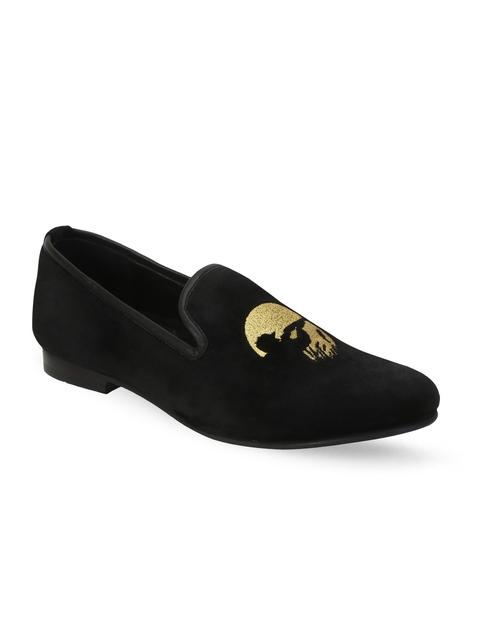 BARESKIN Men Black Embroidered Loafers
