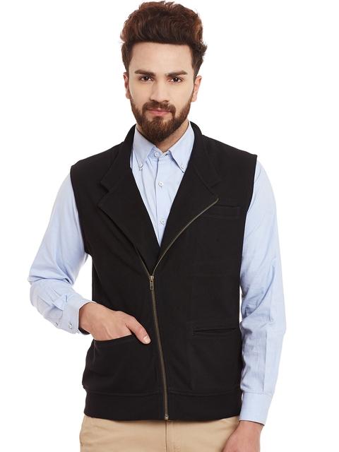 Hypernation Men Black Waistcoat